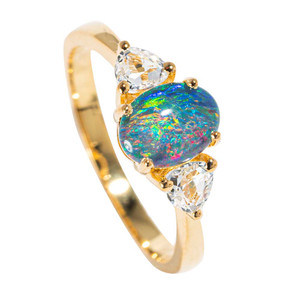 1 ST. BARTS LIGHTS 18KT YELLOW GOLD PLATED & TOPAZ AUSTRALIAN  OPAL RING
