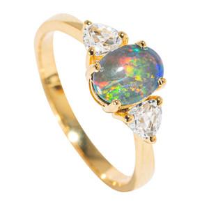 COSTA RICAN GODDESS 18KT YELLOW GOLD PLATED & TOPAZ AUSTRALIAN BLACK OPAL RING