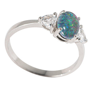 ETHEREAL MIDNIGHT STERLING SILVER & TOPAZ AUSTRALIAN  OPAL RING