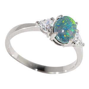 FLOWING GRASS STERLING SILVER & TOPAZ AUSTRALIAN  OPAL RING