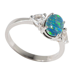 FRUIT STRIPE STERLING SILVER & TOPAZ AUSTRALIAN  OPAL RING