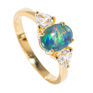 BELIZE FLASH 18KT YELLOW GOLD PLATED & TOPAZ AUSTRALIAN BLACK OPAL RING