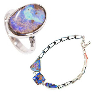 NATURAL KISS STERLING SILVER NATURAL AUSTRALIAN BOULDER OPAL JEWELLERY SET
