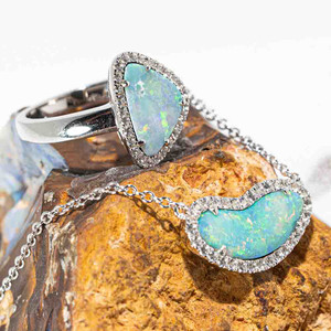 ROLL TIDE STERLING SILVER AUSTRALIAN OPAL JEWELLERY SET