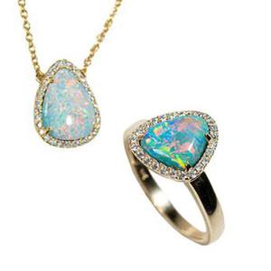 BOLD & GOLD 14KT YELLOW GOLD & DIAMOND AUSTRALIAN OPAL JEWELLERY SET
