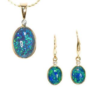 BLUE BRILLIANCE 14KT YELLOW GOLD & DIAMOND AUSTRALIAN BLACK OPAL JEWELLERY SET