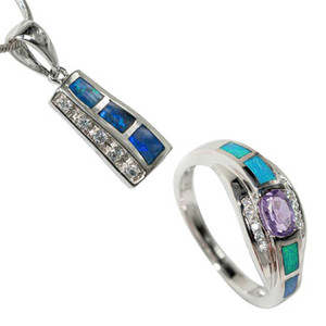LIFE OF THE PARTY STERLING SILVER & AMETHYST AUSTRALIAN OPAL JEWELLERY SET