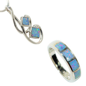 BLISSFUL FLOW STERLING SILVER AUSTRALIAN OPAL JEWELLERY SET