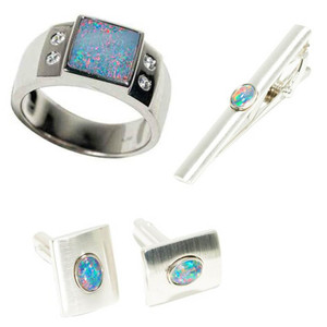 SPACE MEADOW STERLING SILVER & BRASS AUSTRALIAN OPAL MEN'S JEWELLERY SET