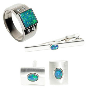 MERIDIAN MEADOW STERLING SILVER AUSTRALIAN OPAL MEN'S JEWELLERY SET