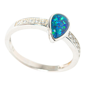 BLUE RASBERRY STERLING SILVER AUSTRALIAN BLACK OPAL RING