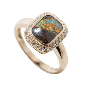 PEEKABO FAIRYDUST 14KT YELLOW GOLD & DIAMOND SOLID AUSTRALIAN OPAL RING