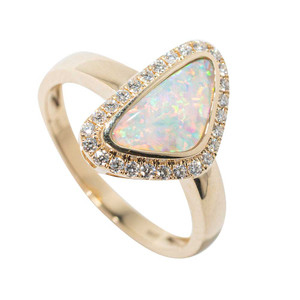 PIXIE POOL 14KT YELLOW GOLD & DIAMOND AUSTRALIAN WHITE OPAL RING