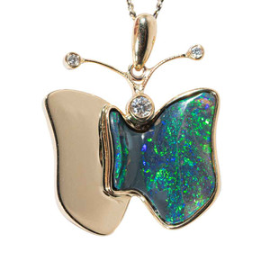 1 A BUTTERFLY'S MAGIC 14KT YELLOW GOLD & DIAMOND AUSTRALIAN OPAL NECKLACE