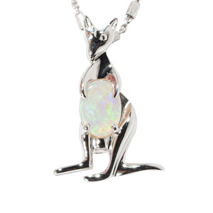 *AUSSIE BLOOM STERLING SILVER SOLID AUSTRALIAN WHITE OPAL NECKLACE