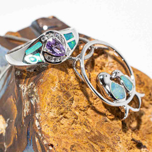 DEARLY BELOVED STERLING SILVER AUSTRALIAN OPAL & AMETHYST JEWELLERY SET