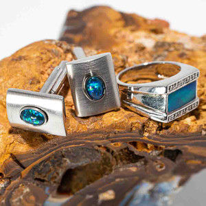 SUMMER BLUES STERLING SILVER & BRASS AUSTRALIAN OPAL MEN'S JEWELLERY SET