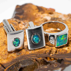 THE LAST SPLASH STERLING SILVER AUSTRALIAN OPAL MEN'S JEWELLERY SET