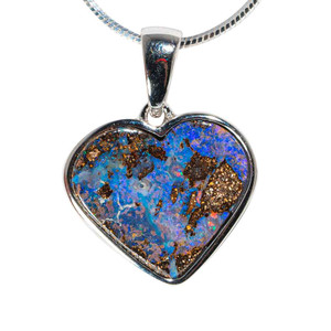BLURPLE LOVE STERLING SILVER SOLID AUSTRALIAN BOULDER OPAL HEART-SHAPED NECKLACE