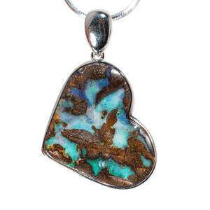 NATURAL LOVE STERLING SILVER SOLID AUSTRALIAN BOULDER OPAL HEART-SHAPED NECKLACE