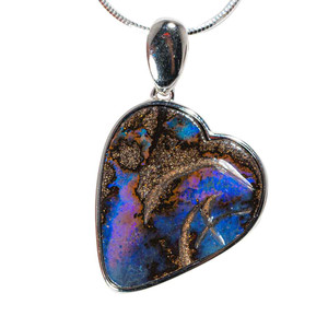 LOVELY BLOOM STERLING SILVER SOLID AUSTRALIAN BOULDER OPAL HEART-SHAPED NECKLACE
