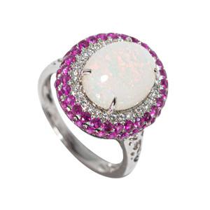 INCOMPARABLE BRILLIANCE 14KT WHITE GOLD SAPPHIRE & DIAMOND AUSTRALIAN OPAL RING