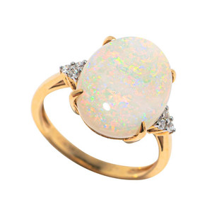 *OPAL ICE 14KT GOLD & DIAMOND AUSTRALIAN OPAL RING