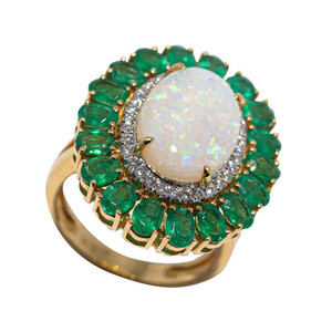 HOME SWEET EMERALD 14KT GOLD DIAMOND & EMERALD AUSTRALIAN OPAL RING