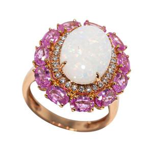 ABUNDANT NATURE 14KT GOLD DIAMOND & PINK SAPPHIRE AUSTRALIAN OPAL RING