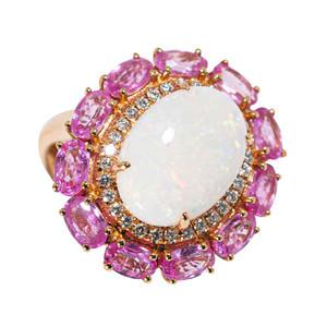 ABUNDANT NATURE 14KT GOLD DIAMOND & PINK SAPPHIRE AUSTRALIAN OPAL RING