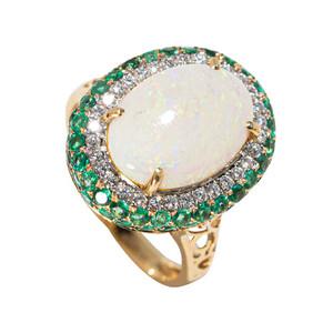 GEMS GALORE 14KT GOLD EMERALD & DIAMOND AUSTRALIAN OPAL RING