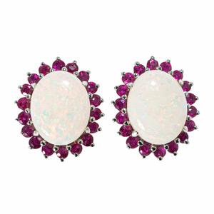 MIDNIGHT ROSE 14KT WHITE GOLD & RUBY AUSTRALIAN OPAL EARRINGS