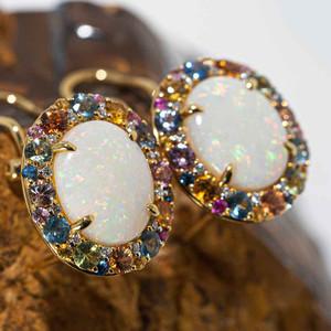 ROYAL BLOOM 14KT GOLD SAPPHIRE & DIAMOND AUSTRALIAN OPAL EARRINGS