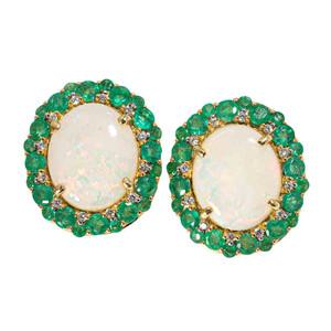 DEEP ROOTS 14KT GOLD DIAMOND & EMERALD AUSTRALIAN OPAL EARRINGS