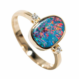 GIVE ME MORE SPARKLE 14KT YELLOW GOLD & DIAMOND AUSTRALIAN OPAL RING