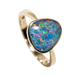COOL JEWELS 14KT YELLOW GOLD AUSTRALIAN OPAL RING