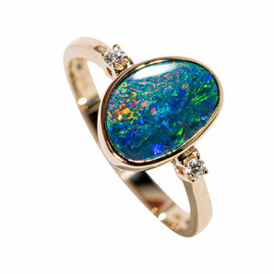 A FOREVER PROMISE 14KT YELLOW GOLD & DIAMOND AUSTRALIAN OPAL RING