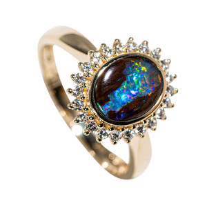 A LUMINOUS FLOWER 14KT YELLOW GOLD & DIAMOND AUSTRALIAN BOULDER OPAL RING