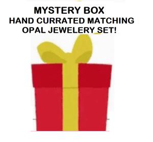 MYSTERY BOX #2  STERLING SILVER RAINBOW COLORED OPAL TRIPLET SET  (OPAL PENDANT + OPAL RING + OPAL STUD EARRINGS)