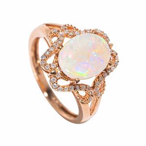 A ULTIMATE GEM 14KT YELLOW GOLD & DIAMOND AUSTRALIAN OPAL RING