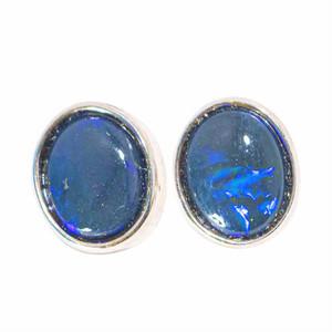 A LUMINOUS BLUE STERLING SILVER AUSTRALIAN SOLID BLACK OPAL STUD EARRINGS