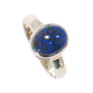 *TRANQUILITY STERLING SILVER AUSTRALIAN SOLID BLACK OPAL RING