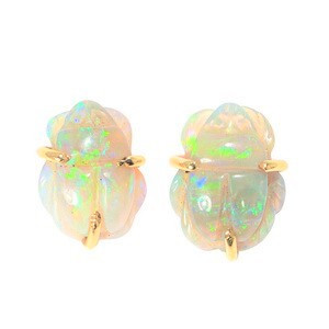 *PURE CANDY 14KT YELLOW GOLD SOLID WHITE AUSTRALIAN OPAL STUD EARRINGS