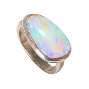 A WHITE IRIDESCENT GRACE STERLING SILVER AUSTRALIAN SOLID BOULDER OPAL RING