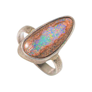 BRIGHT STAR STERLING SILVER AUSTRALIAN SOLID OPAL RING