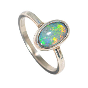 COLORFUL SILVER CHARM STERLING SILVER AUSTRALIAN SOLID OPAL RING
