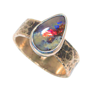 A RED SEA STERLING SILVER AUSTRALIAN SOLID OPAL RING