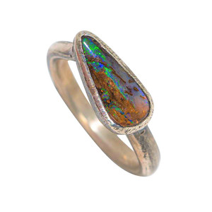 CLOSE TO EARTH STERLING SILVER AUSTRALIAN SOLID OPAL RING