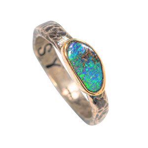 COLORSTONE 14KT GOLD & STERLING SILVER AUSTRALIAN SOLID OPAL RING