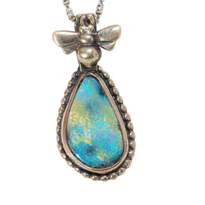 A FIREFLY STERLING SILVER AUSTRALIAN SOLID BOULDER NECKLACE